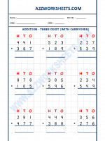 Maths Addition Worksheet - 3 Digit Addition (With carryover)-03