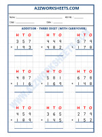 Maths Addition Worksheet - 3 Digit Addition (With carryover)-04