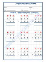 Maths Addition Worksheet - 3 Digit Addition (With carryover)-05