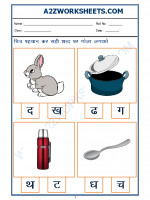 Language Hindi Worksheet - sahi akshar pehchano(Find the correct alphabet)-05