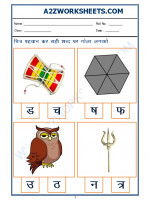 Language Hindi Worksheet - sahi akshar pehchano(Find the correct alphabet)-09