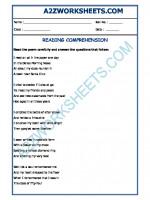 English English Comprehension (poem) - 13