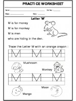 English Trace the letter M