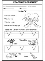 English Trace the letter V